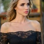 Черное гипюровое платье длины миди с открытыми плечами zd01995bk-4