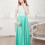Длинное мятное платье с пышной юбкой и кружевным верхом с короткими рукавами zd00335mn-1