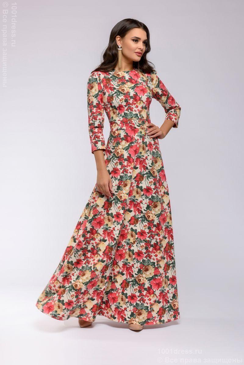 ddef6ac35f7a4 Длинное платье ванильного цвета с цветочным принтом и рукавами 3/4  dm00266va-1