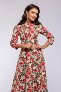 Длинное платье ванильного цвета с цветочным принтом и рукавами 3/4 купить в интернет-магазине