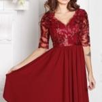 Коктейльное платье цвета марсала с пышной юбкой и кружевным верхом sz00156ma-1