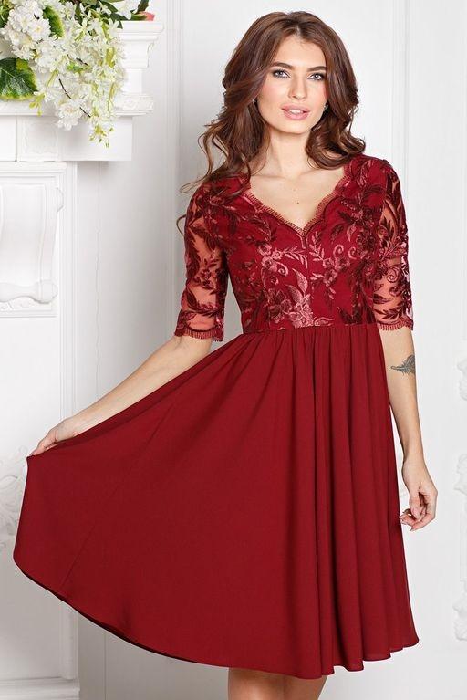 be87792fc51 ... Коктейльное платье цвета марсала с пышной юбкой и кружевным верхом. Купить  в Воронеже