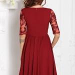 Коктейльное платье цвета марсала с пышной юбкой и кружевным верхом sz00156ma-3