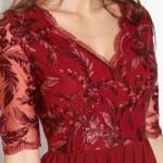 Коктейльное платье цвета марсала с пышной юбкой и кружевным верхом sz00156ma-4