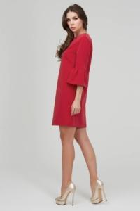 Заказать Красное платье мини свободного кроя с воланами на рукавах с бесплатной доставкой по России