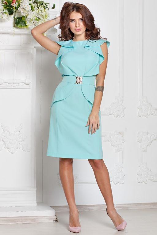 Платье-футляр мятного цвета с воланами и поясом без рукавов sz00152mn-2