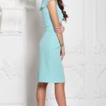 Платье-футляр мятного цвета с воланами и поясом без рукавов sz00152mn-3