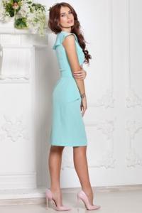 Заказать Платье-футляр мятного цвета с воланами и поясом без рукавов с бесплатной доставкой по России