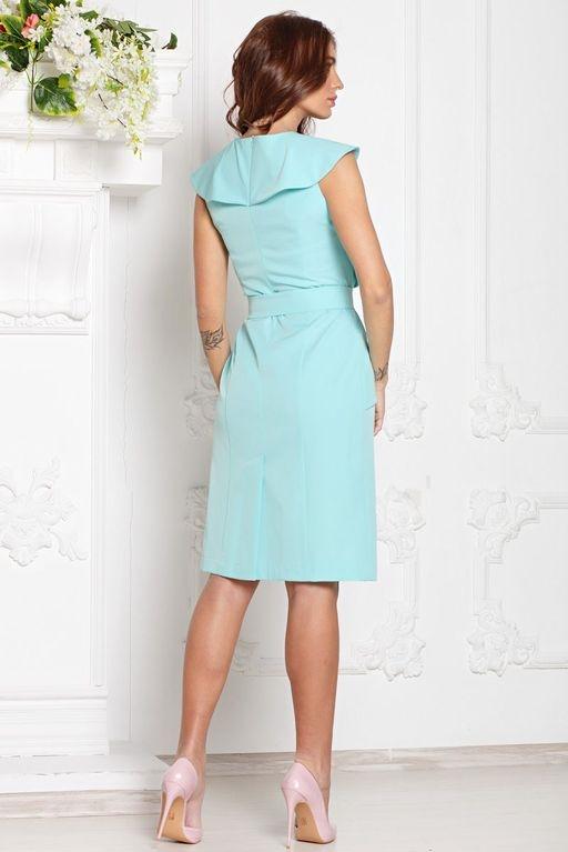 Платье-футляр мятного цвета с воланами и поясом без рукавов sz00152mn-4