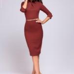 Платье-футляр цвета марсала с имитацией галстука dm00455ma-2