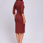 Платье-футляр цвета марсала с имитацией галстука dm00455ma-3
