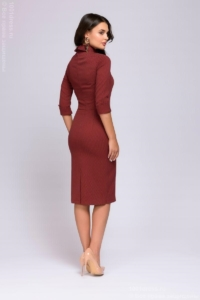 Заказать Платье-футляр цвета марсала с имитацией галстука с бесплатной доставкой по России
