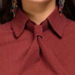 Платье-футляр цвета марсала с имитацией галстука dm00455ma-4