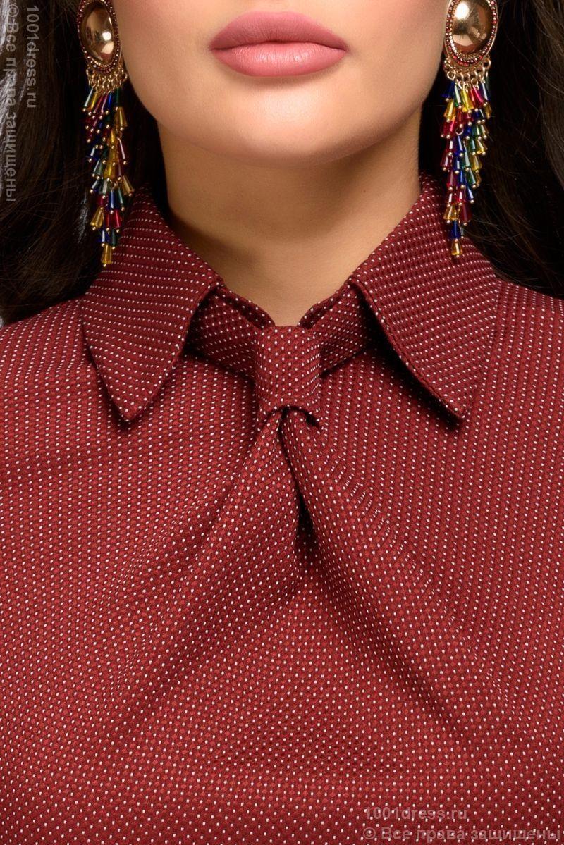 Купить Платье-футляр цвета марсала с имитацией галстука в магазине женской одежды в Воронеже