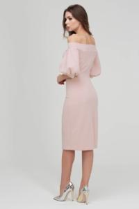 Купить Платье-футляр цвета пудры с открытыми плечами и пышными рукавами в магазине женской одежды в Воронеже