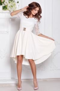 Платье миди цвета айвори с асимметричным низом, поясом и кружевным верхом купить в интернет-магазине