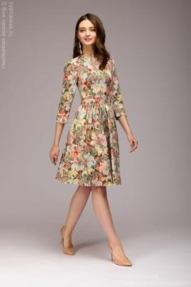 Платье мини с оранжевым цветочным принтом из жаккарда купить в интернет-магазине