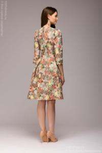 Заказать Платье мини с оранжевым цветочным принтом из жаккарда с бесплатнной доставкой по России
