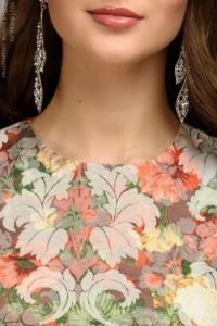 Купить Платье мини с оранжевым цветочным принтом из жаккарда в магазине женской одежды в Воронеже