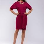 Платье мини ягодного цвета с рукавом «летучая мышь» dm00211be-2