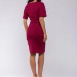 Платье мини ягодного цвета с рукавом «летучая мышь» dm00211be-3