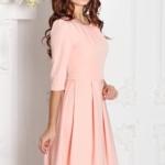 Платье персикового цвета длины миди с пышной юбкой и рукавами 3/4 sz00100ph-1