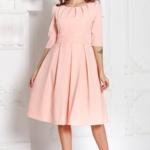 Платье персикового цвета длины миди с пышной юбкой и рукавами 3/4 sz00100ph-2