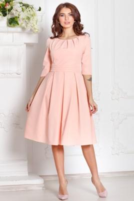 Платье персикового цвета длины миди с пышной юбкой и рукавами 3/4 купить в интернет-магазине