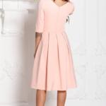 Платье персикового цвета длины миди с пышной юбкой и рукавами 3/4 sz00100ph-3