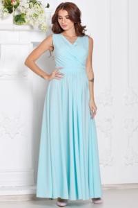Платье в пол ментолового цвета с пышной юбкой без рукавов купить в интернет-магазине