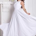 Вечернее платье в пол белого цвета с пышной юбкой без рукавов sz00036wh-1