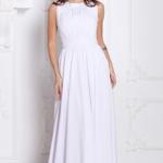 Вечернее платье в пол белого цвета с пышной юбкой без рукавов sz00036wh-2