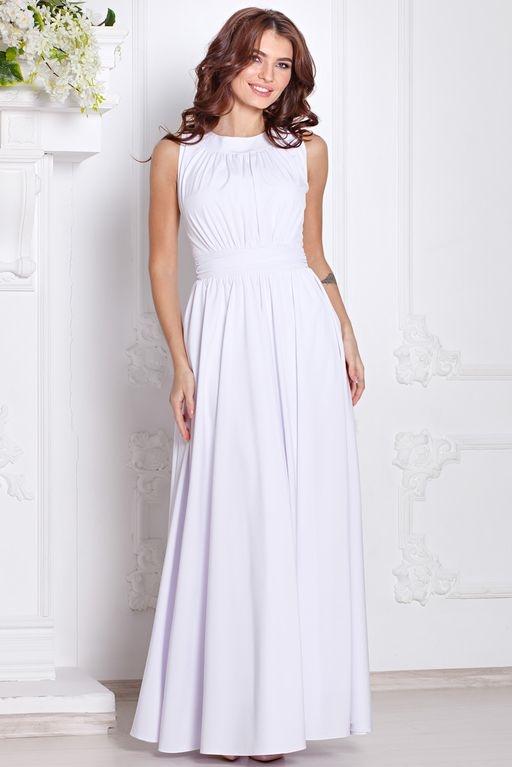 Вечернее платье в пол белого цвета с пышной юбкой без рукавов купить в интернет-магазине