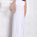Вечернее платье в пол белого цвета с пышной юбкой без рукавов sz00036wh-3