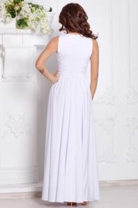 Заказать Вечернее платье в пол белого цвета с пышной юбкой без рукавов с бесплатной доставкой по России