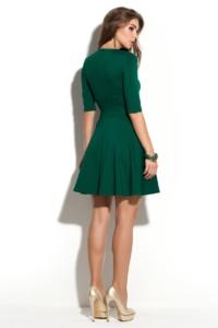 Зеленое платье мини с расклешенной юбкой и рукавами 3/4 купить в Воронеже