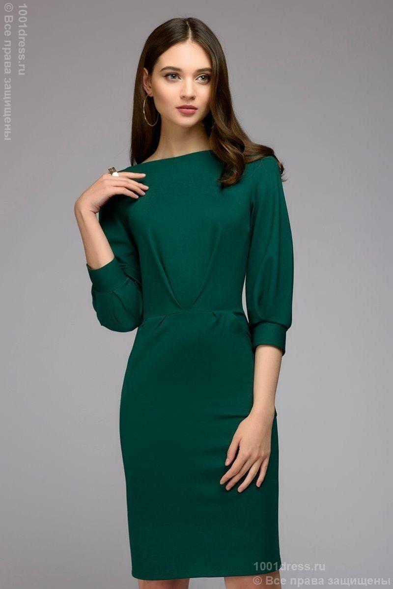 Зеленое платье с пышными рукавами dm00436em-1