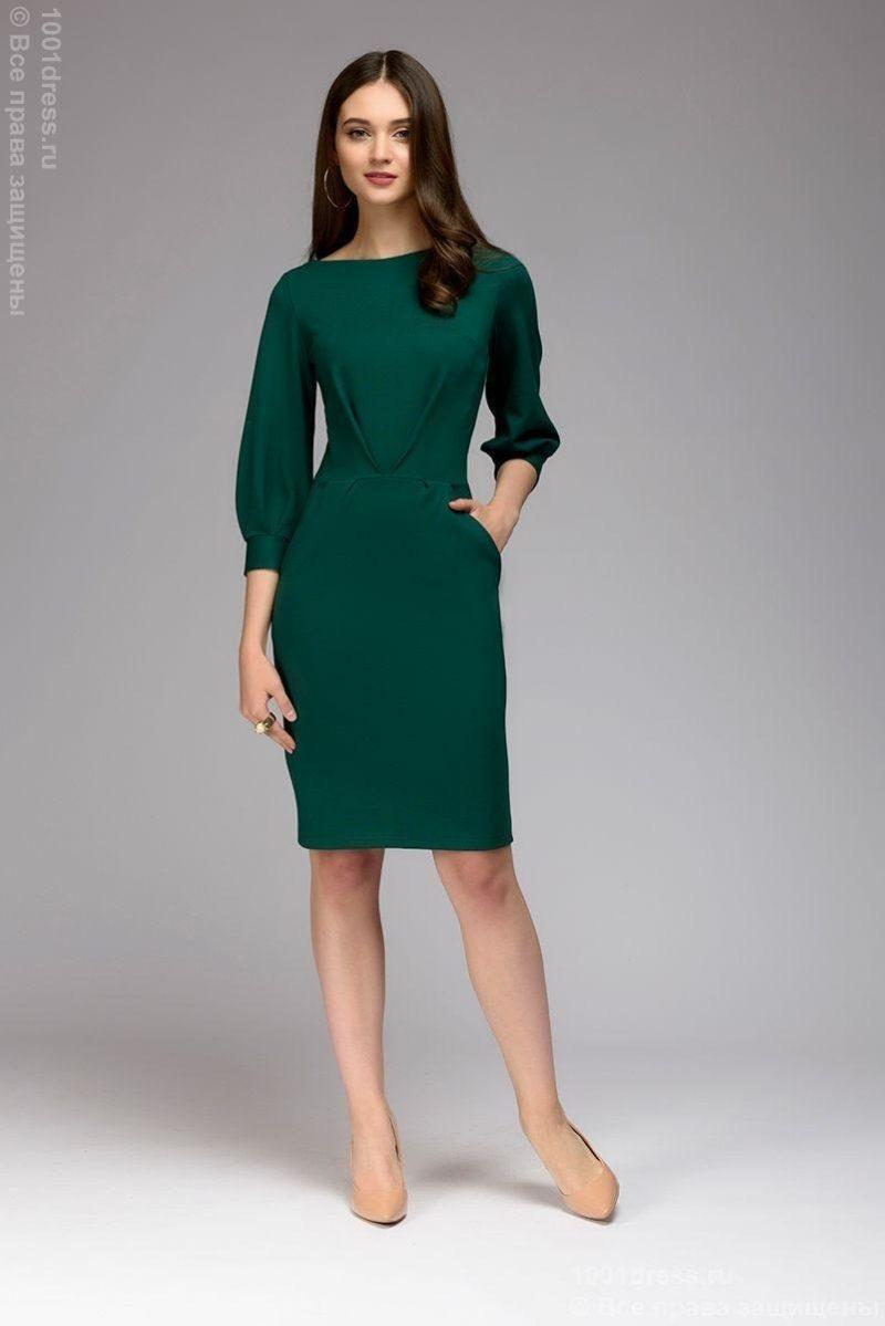 Зеленое платье с пышными рукавами dm00436em-2