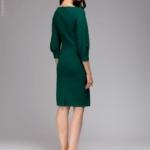 Зеленое платье с пышными рукавами dm00436em-3