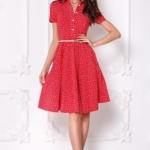 Красное платье миди с рубашечным верхом и морским принтом sz00108rd-1