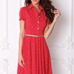 Красное платье миди с рубашечным верхом и морским принтом sz00108rd-2