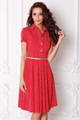 Красное платье миди с рубашечным верхом и морским принтом заказать с бесплатной доставкой по России