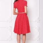 Красное платье миди с рубашечным верхом и морским принтом sz00108rd-3