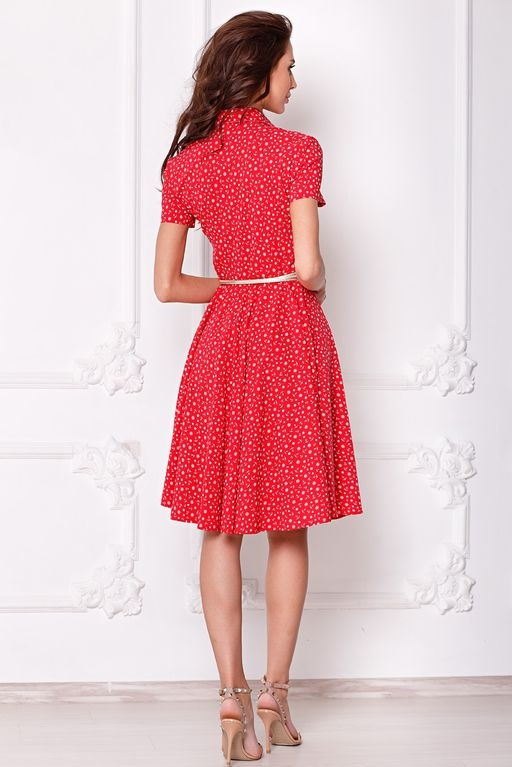 Купить Красное платье миди с рубашечным верхом и морским принтом в интернете