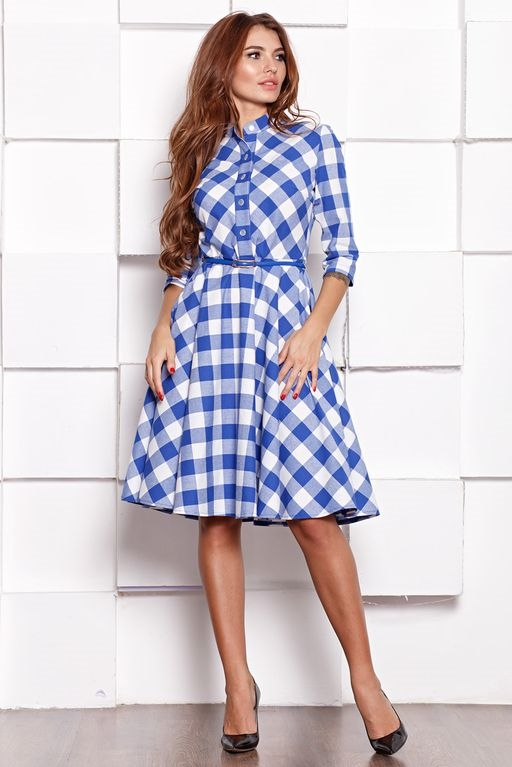 Платье миди белого цвета в синюю клетку с пышной юбкой и рукавами 3/4 sz00108wh-1