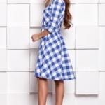 Платье миди белого цвета в синюю клетку с пышной юбкой и рукавами 3/4 sz00108wh-3