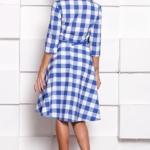 Платье миди белого цвета в синюю клетку с пышной юбкой и рукавами 3/4 sz00108wh-4