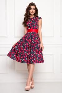 """Темно-синее платье миди с принтом """"вишни"""", пышной юбкой и поясом купить в интернет-магазине"""
