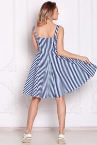 Заказать Белый сарафан длины миди в темно-синюю полоску в интернет-магазине