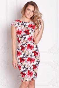 Белое платье-футляр с цветочным принтом без рукавов купить в интернет-магазине